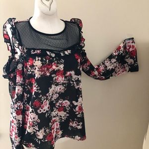 Takara Black Floral Cold Shoulder Sheer Blouse